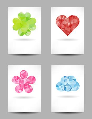 clover backdrop: Set of shapes with abstract triangles on background Illustration