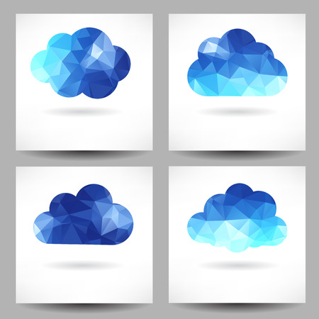Set of backgrounds with abstract geometrical triangle clouds Vector