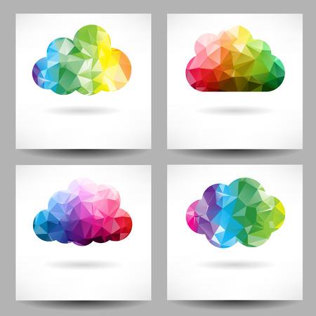 Set van achtergronden met abstracte geometrische driehoek wolken