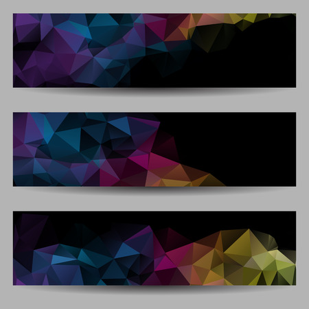 Set of banners with abstract geometrical triangles Vector
