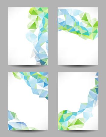 Set van achtergronden met abstracte geometrische driehoeken