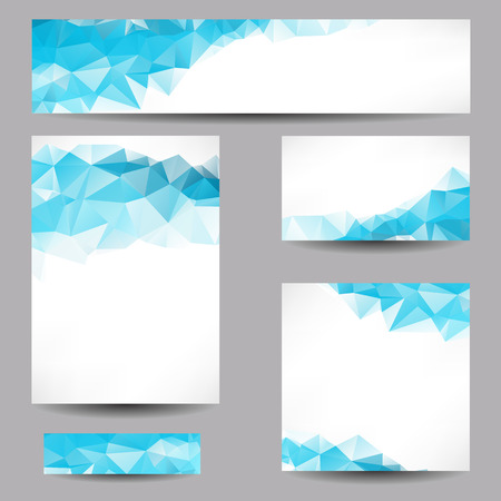 blue backgrounds: Set of templates with abstract geometrical triangles