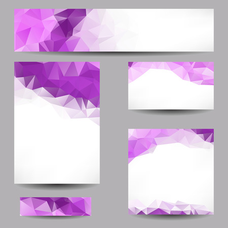 violet purple: Set of templates with abstract geometrical triangles