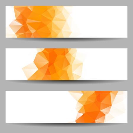 一連の抽象的な幾何学的三角形とバナー