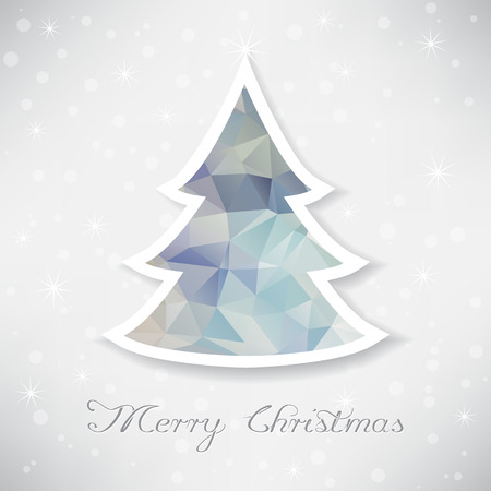 Illustration of silver christmas tree with triangle filling Vector
