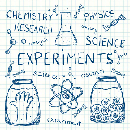 Illustration of scientific experiments on school squared paper. Vector