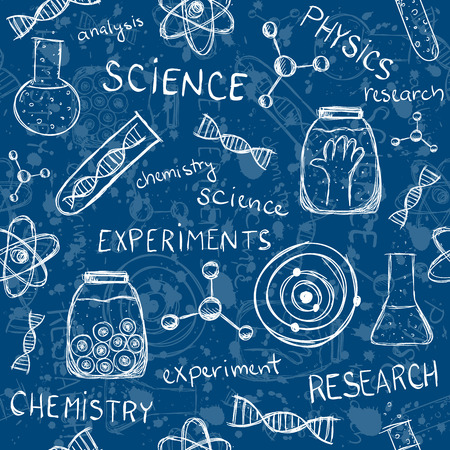 Illustration of scientific experiments on blue background. Seamless pattern.