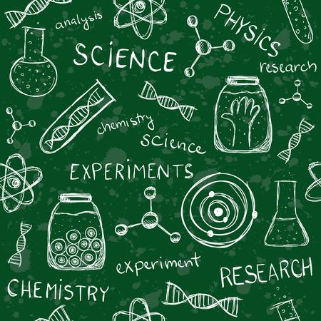 Illustration of scientific experiments on school board Vector