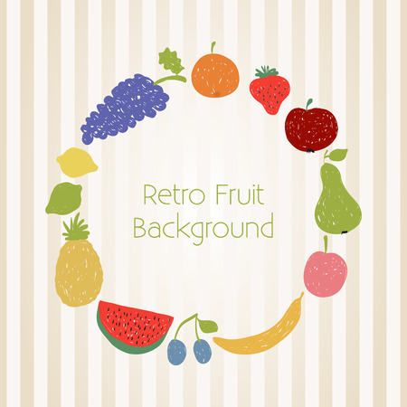 Illustration of doodle fruit circle in retro colors Vector