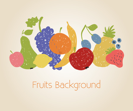 Illustration of doodle fruits background  in retro colors  Vector