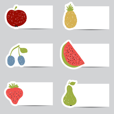 Illustration of doodle fruits cards in retro colors  Vector