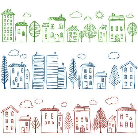 Illustratie van de hand getekende huizen, naadloze patroon