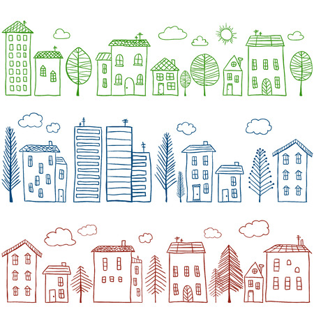 Illustration of hand drawn houses, seamless pattern Stock Illustratie