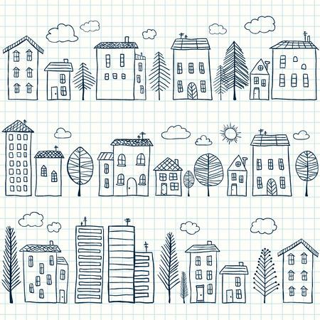 Illustratie van de hand getekende huizen op ruitjespapier, naadloos patroon Stock Illustratie