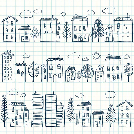 Illustration of hand drawn houses on squared paper, seamless pattern Vettoriali