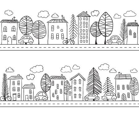 dessin au trait: Illustration de maisons dessinés à la main, motif sans couture Illustration