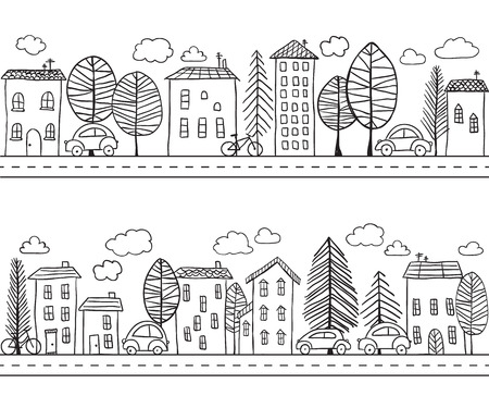 Illustration of hand drawn houses, seamless pattern 矢量图像