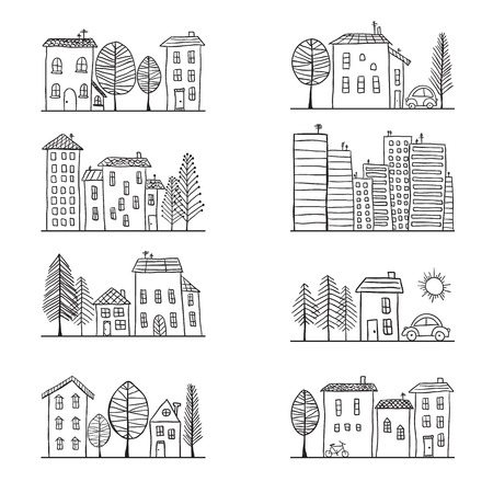 Illustration of hand drawn houses, small town Vectores