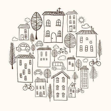 Illustratie van de hand getekende huizen in cirkelvorm Stock Illustratie