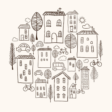 Illustration of hand drawn houses in circle shape Vector