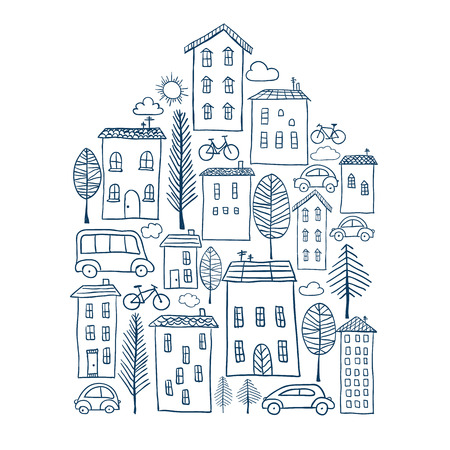 Illustration of hand drawn town in house shape Stock Illustratie