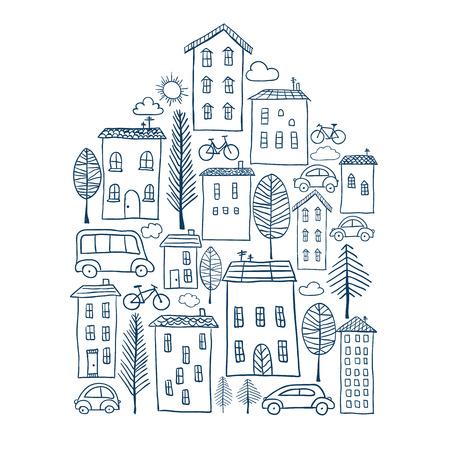 Illustratie van de hand getekende stad in huis vorm