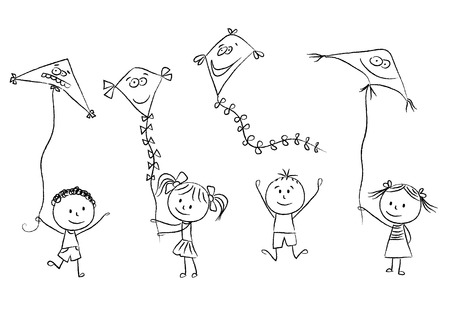 Illustration of kids with flying kites, hand drawn style Vector