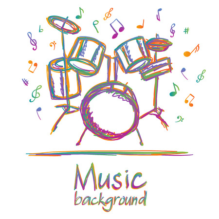 Illustration of drums music background, doodle style Vector