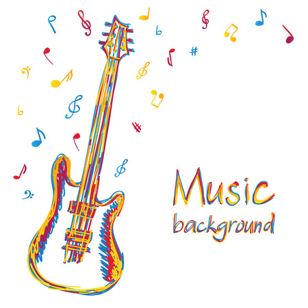 Illustration of guitar music background, doodle style