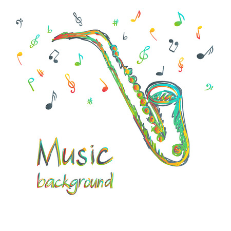Illustration of saxophone music background, doodle style Vector