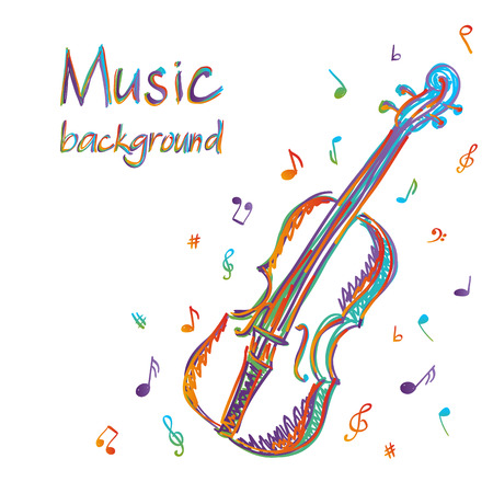 Illustration of violin music background, doodle style