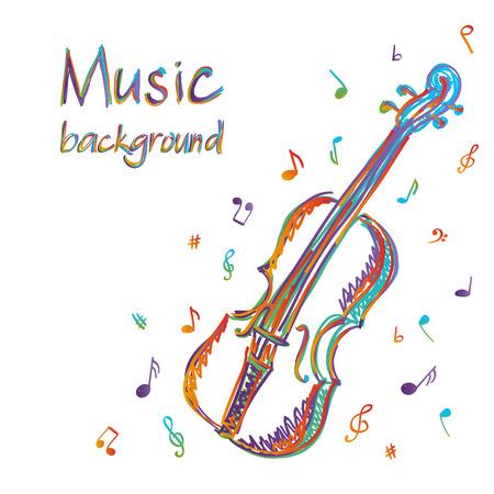 Illustratie van viool muziek achtergrond, doodle stijl