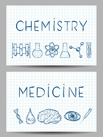 Collection of scientific illustrations on banners. Hand drawn style. Vector