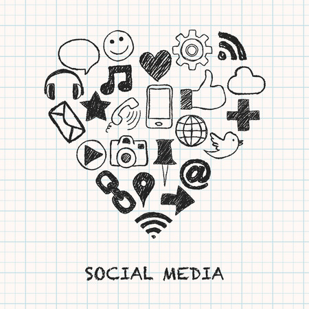 Illustration social media icons in heart shape on squared paper Vector