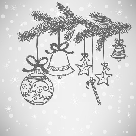 Illustration of Christmas balls doodle style on silver snowy background Vector