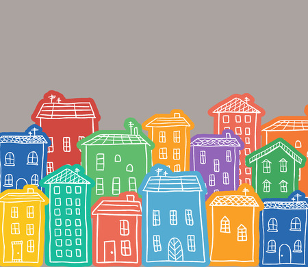 Illustration of hand drawn colored houses in town Ilustração