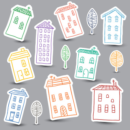 Illustration of hand drawn colored houses on white background Illustration