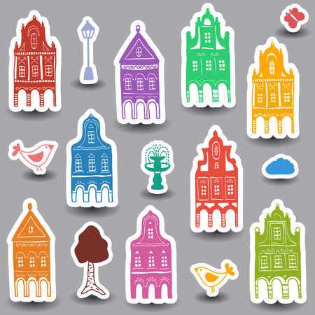 Illustration of hand drawn colored houses on white background Vector