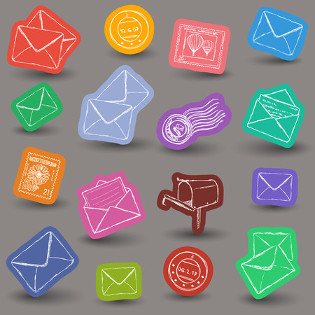 mailing: Illustration of postal and mailing icons - doodle style