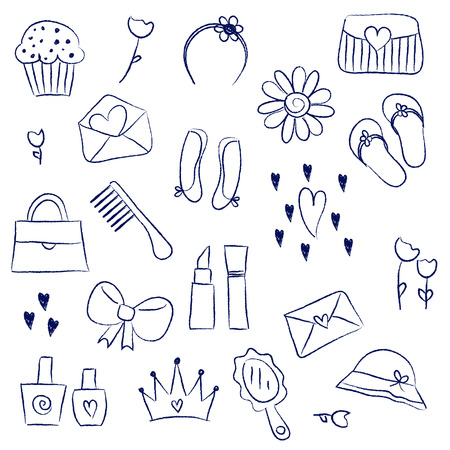 chalky: Illustration of girl accessories chalky doodle icons Illustration