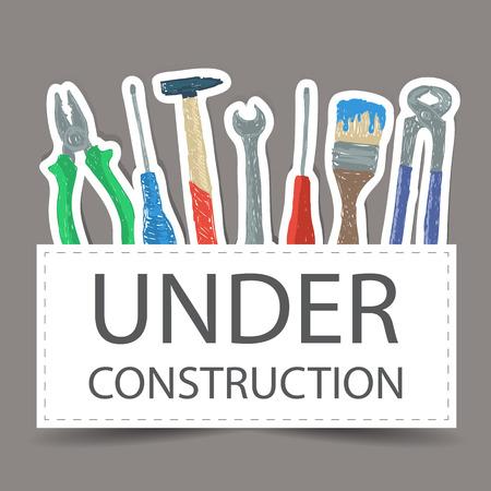 Illustration of hardware - hand drawn tools  - under construction