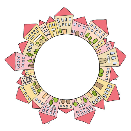Illustration of hand drawn houses in circle shape Stok Fotoğraf - 36509189