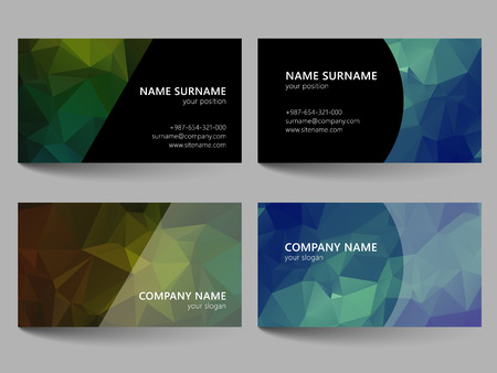 call card: Set of business cards with abstract geometrical triangles