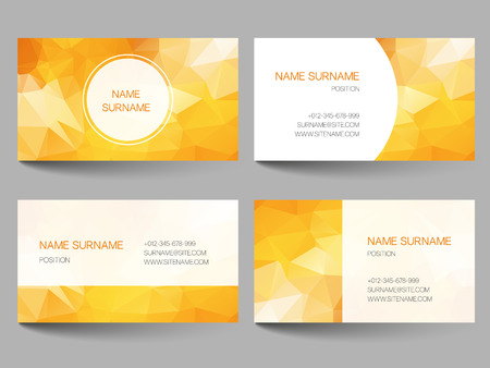 background cover: Set of business cards with abstract geometrical triangles