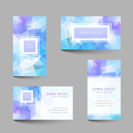 calling art: Set of business cards with abstract geometrical triangles