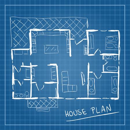 plan maison: Illustration de plan de maison mod�le style doodle