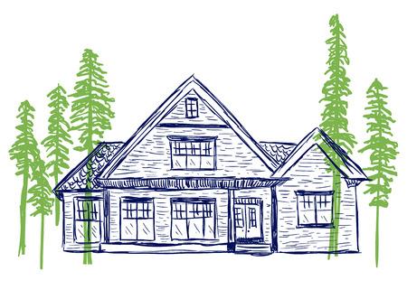 Illustratie van huis en bomen, hand getrokken stijl Stock Illustratie