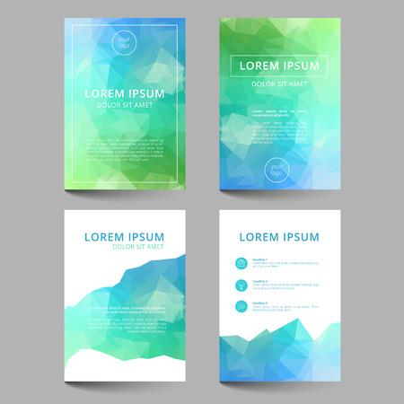 fondo para tarjetas: Conjunto de plantillas de documentos con tri�ngulos geom�tricos abstractos Vectores