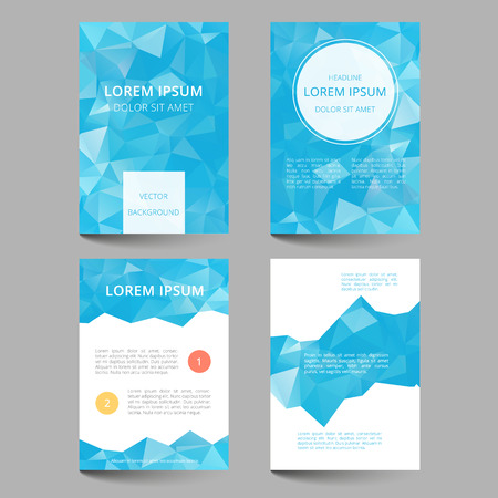 Set of document templates with abstract geometrical triangles