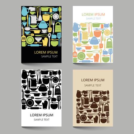 Set of document templates with kitchen utensils Illustration